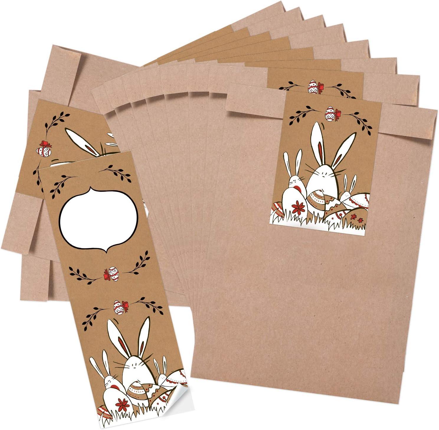 16,5 x 26 x 6,6 cm con coniglietto pasquale adesivo 7,2 x 21 cm 25 pezzi Logbuch-Verlag Busta di carta kraft per Pasqua