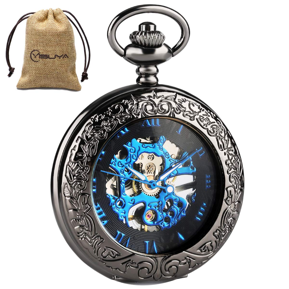 Black Skeleton Mechanical Pocket Watch Hand Wind Roman Numerals Classic Engraved with Chain