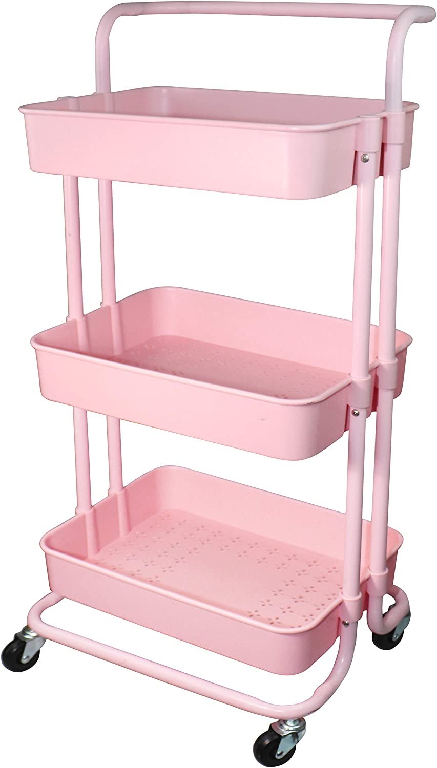 Piowio 3 Tier Utility Rolling Cart Multifunction Organizer Shelf Storage Cart with Handle and Lockable Wheels for Home Kitchen Bathroom Laundry Room Office Store etc. (Pink)