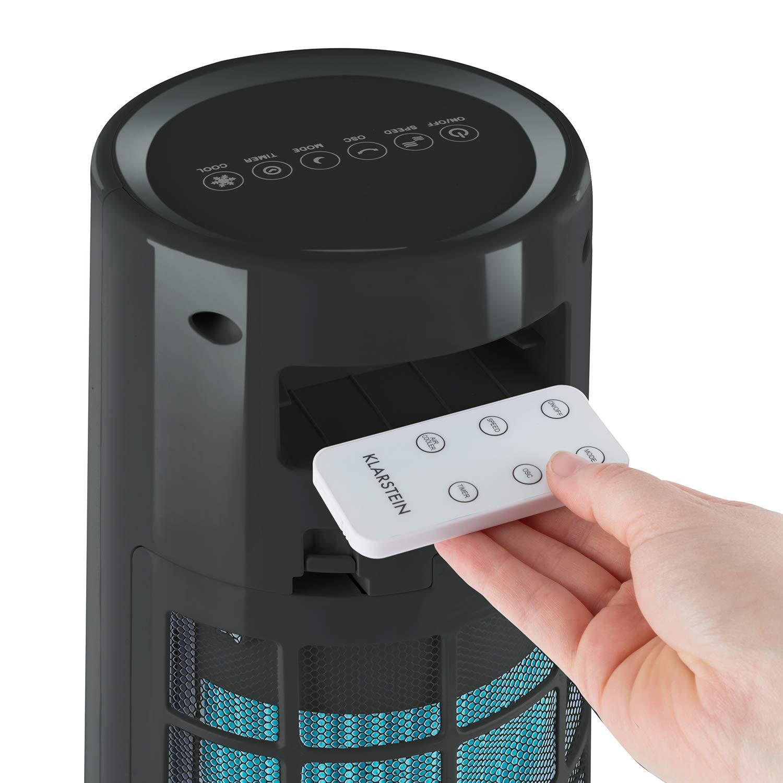 Klarstein Highrise Cold Tower /• Ventilateur /• Refroidisseur dair /• Humidificateur /• Purification de lair /• 35 W /• R/éservoir deau 2,5 L /• 3 Modes de Fonctionnement /• Icepack /• Blanc