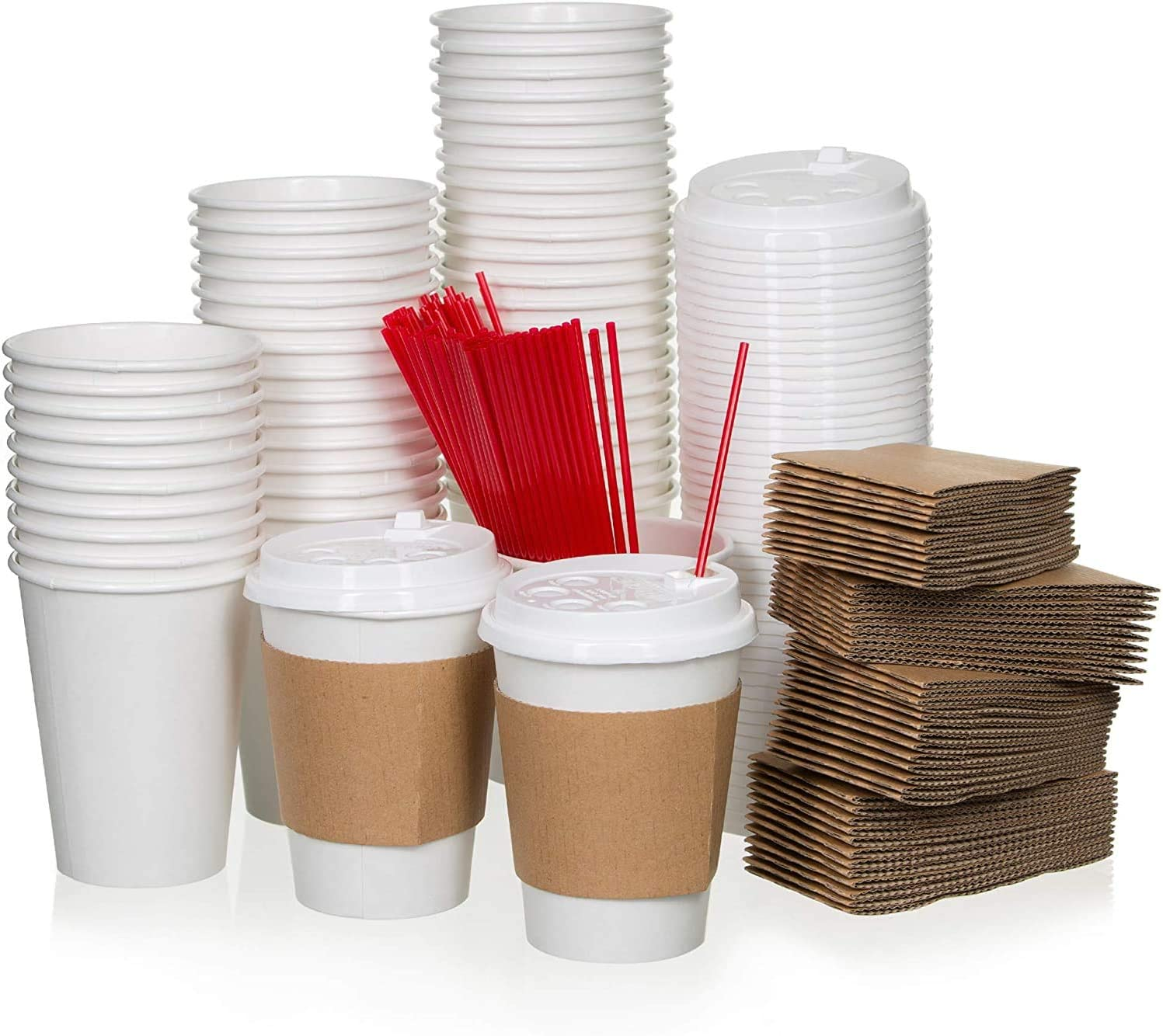 Paper Cups for Serving Beverages,12 oz Disposable Paper Coffee Cups Set of 50