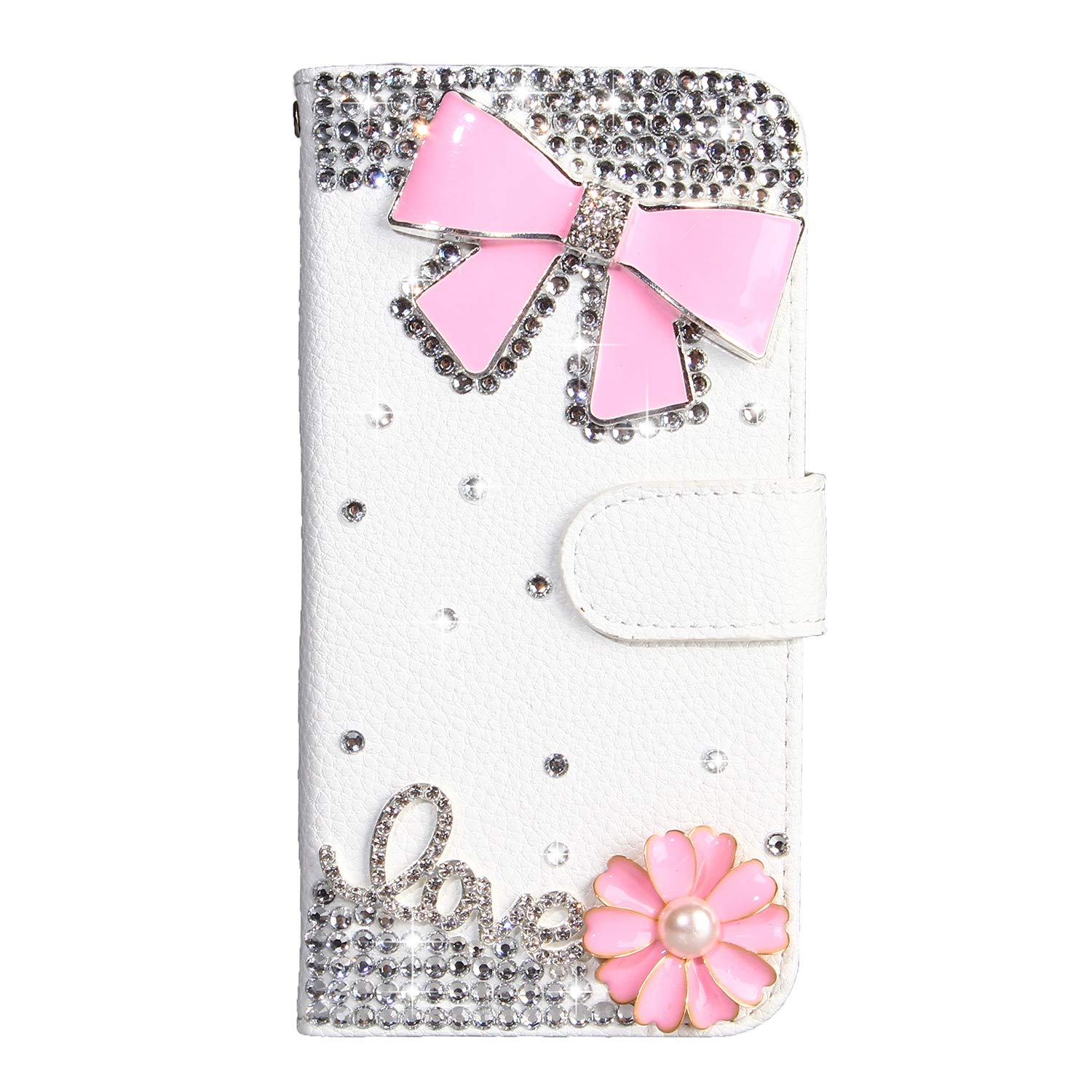 Crystal Wallet Case for Samsung Galaxy A40,Aoucase Stylish Luxury 3D Handmade Pink Bowknot Design Bling Pocket Purse Soft Rubber Stand White Leather Case with Black Dual-use Stylus