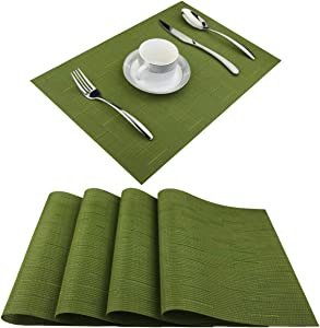 BeChen Vinyl Placemats,Washable Table Mats Easy to Clean Woven Placemats for Dining Table Set of 4(Sage Green)