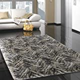 Adgo Vernazza Collection Modern Contemporary Jute Backed Shag Shaggy Area Rugs Tall Pile Height Well Spaced Soft and Fluffy Indoor Floor Rug (6' x 9', AP29A - Tan Grey)