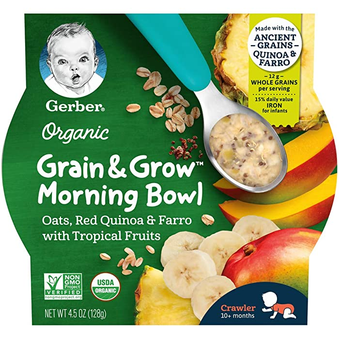 Gerber Up Age Organic Grain & Grow Morning Bowl, 8 Count, Oats Red Quinoa & Farro with Tropical Fruits, 36 Oz