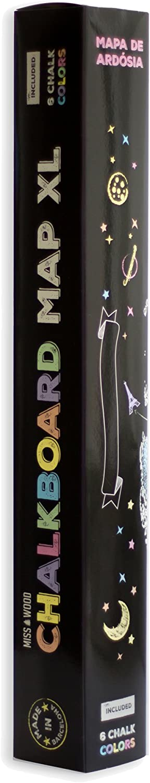Miss Wood Chalkboard XL Mapa de Pizarra, Vinilo, Negro y Blanco, 90 x 60 x 0.1 cm: Amazon.es: Hogar