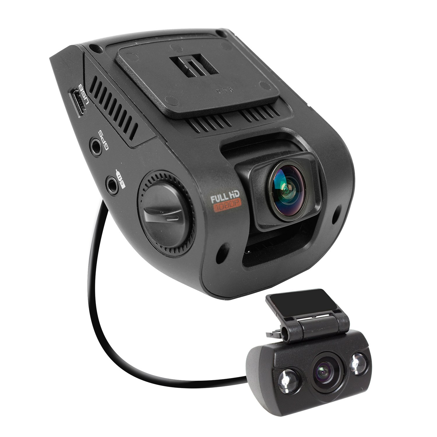 Rexing V1P 2.4'' LCD FHD 1080p 170 Degree Wide Angle Dual Channel Dashboard Camera Recorder Car Dash Cam with Rear Camera, G-Sensor, WDR, Loop Recording