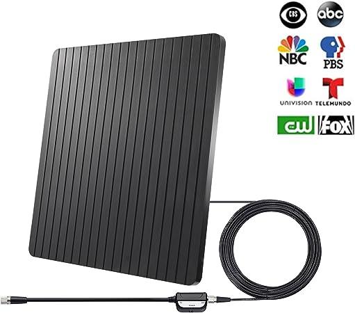 ROCAM Antena de TV HD para Interior y Digital, de Largo Alcance, Antena de TV de más de 65 Millas con Amplificador de señal, Fuente USB Compatible con ...