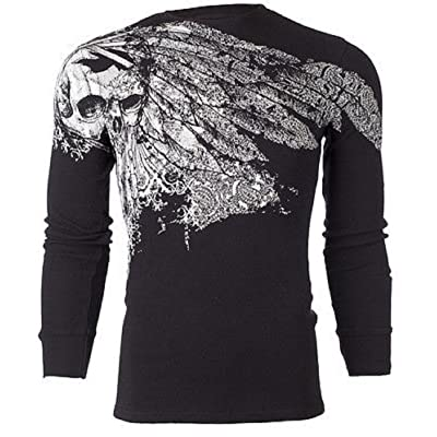 Xtreme Couture AFFLICTION Mens THERMAL T-Shirt ANTIQUATED Tattoo Biker