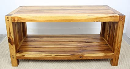 Coffee Table W Shelf 36x16x18 Inch H Farmed Teak Slat W Eco Frndly Livos  Oak Oil
