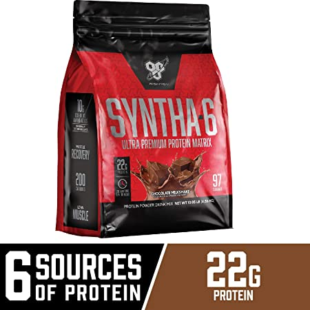 BSN SYNTHA-6 Whey Protein Powder, Micellar Casein, Milk Protein Isolate Powder, Chocolate Milkshake, 97 Servings Package May Vary