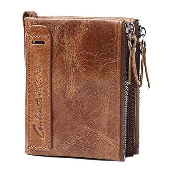 Cartera marrón de Piel para Hombre, Tarjeta de crédito, Efectivo y Monedas (Marrón): Amazon.es: Equipaje