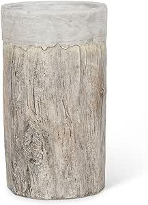 Abbott Collection Ceramic Bark Vase/Cooler with Rim Tall Grey
