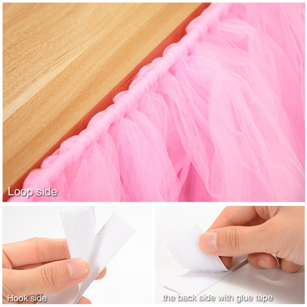 Adeeing Romantic Tulle Table Cloth Gauze Decoration Tutu Table Skirts for Girl Princess Party Baby Shower Wedding Birthday Parties Decoration Pink 1Yard