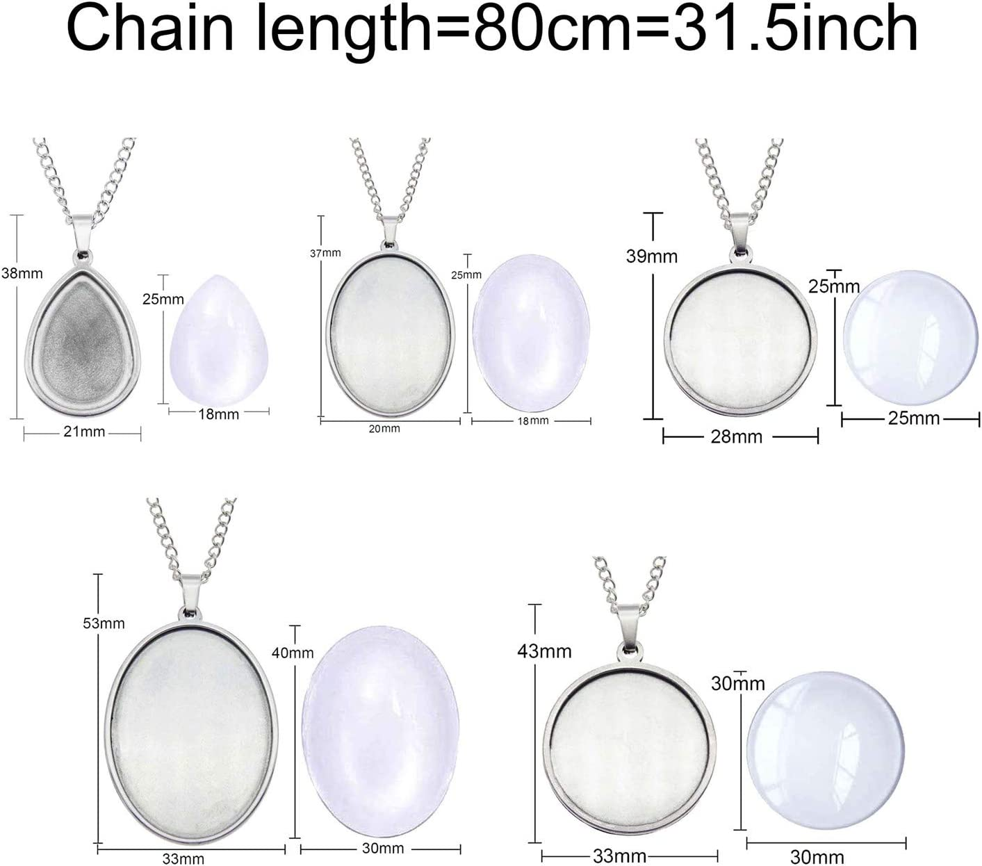 Add Your Own Pictures Dried Flowers to Create a Unique Pendant Necklace Gifts GraceAngie 5 Sets Stainless Steel Silver Ovel//Drop//Round Bezels Pendant Trays with Glass Cabochons Drop-25x18mm