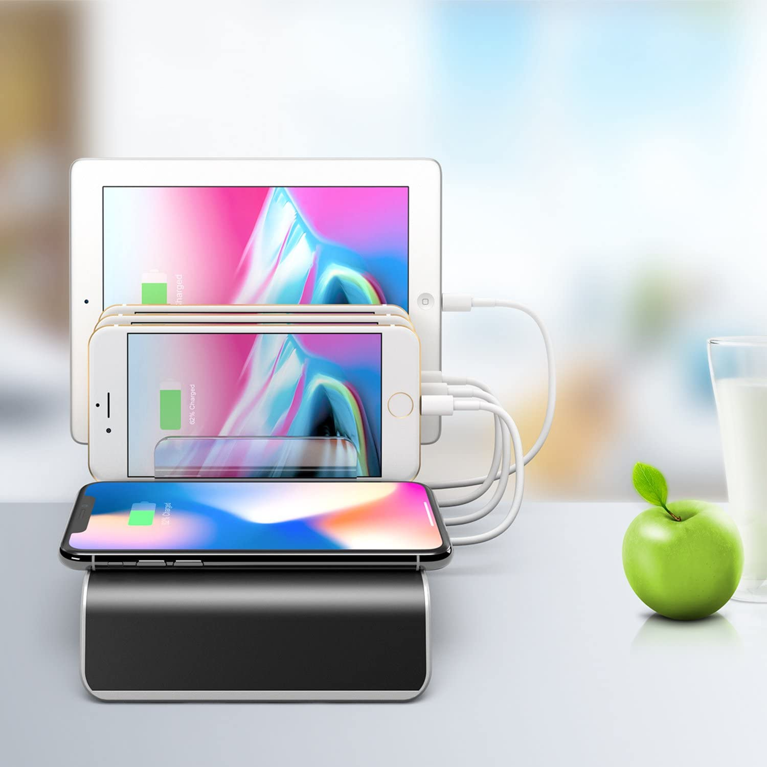 BTU Charging Stations for Multiple Devices 5-in-1 Desk Docking Station Organizer for iPhone Charging Stations 3 USB//1 Type-C Ports and 1 of QI Wireless Charging Pad for Phone