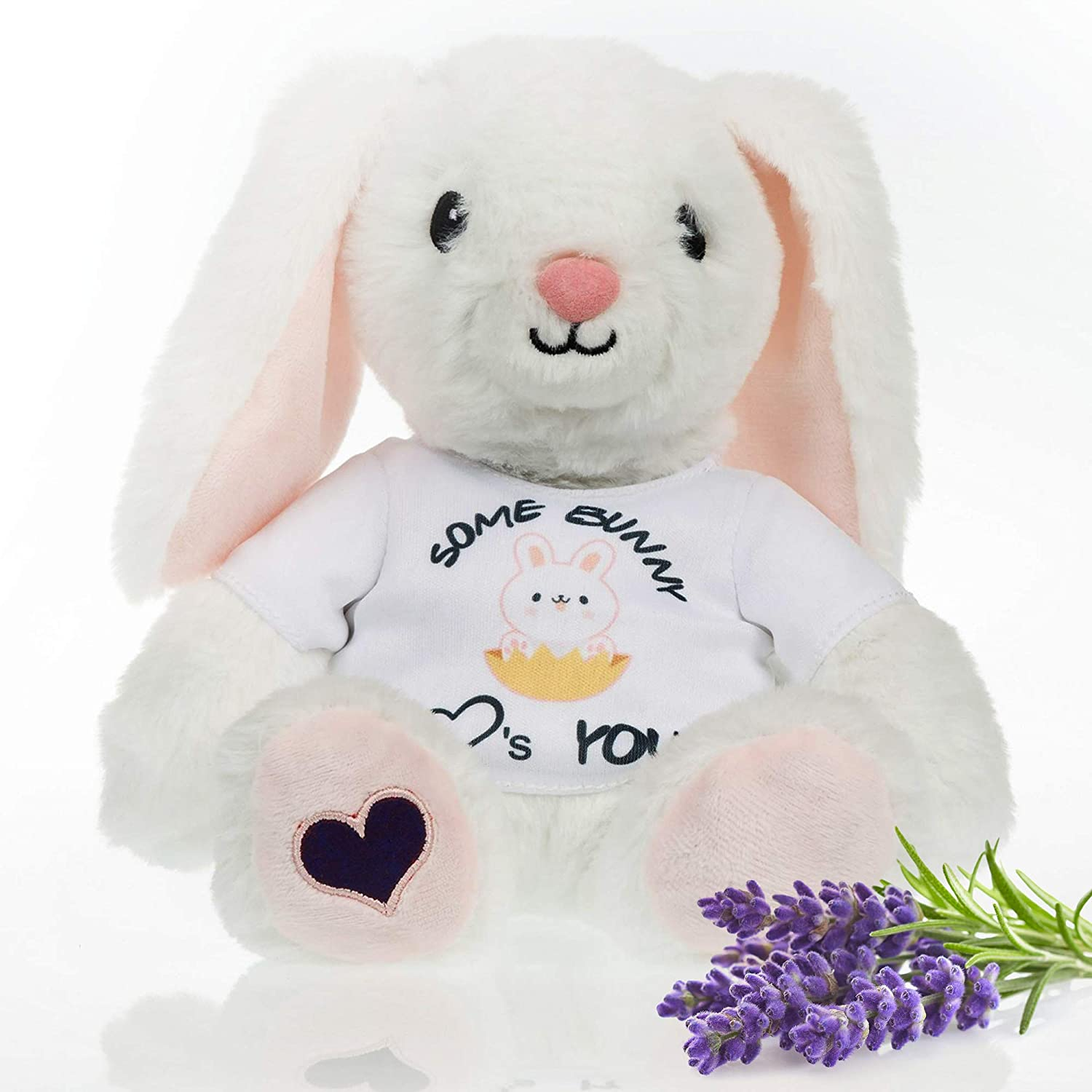 Stuffed Bunny- Heated Microwavable Therapeutic Plush Rabbit Stuffed Animal with French Lavender Scented. Warm Up as Heating Pad to Comfort Illness or Anxiety, Cool to sooth Bruises. Balmy Buddies