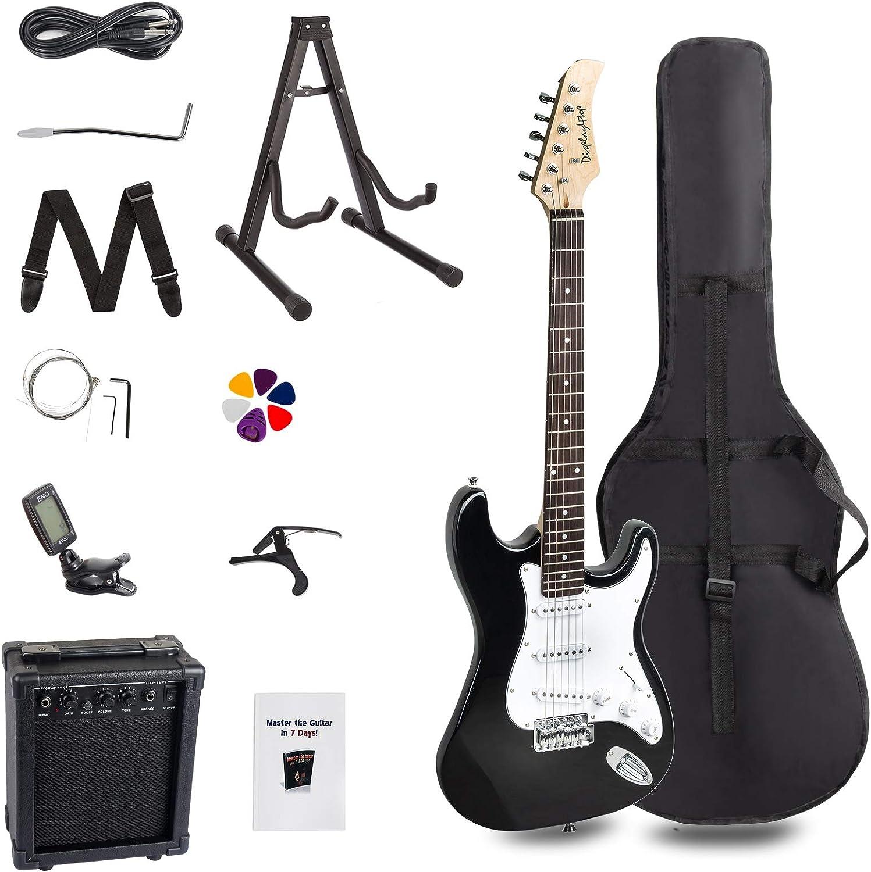 Display4top - Guitarra eléctrica de tamaño completo para principiantes con amplificador de 10 vatios, soporte para guitarra, bolsa, púa de guitarra, correa, cuerdas de repuesto, afinador, funda y cable (negro/blanco): Amazon.es: Instrumentos