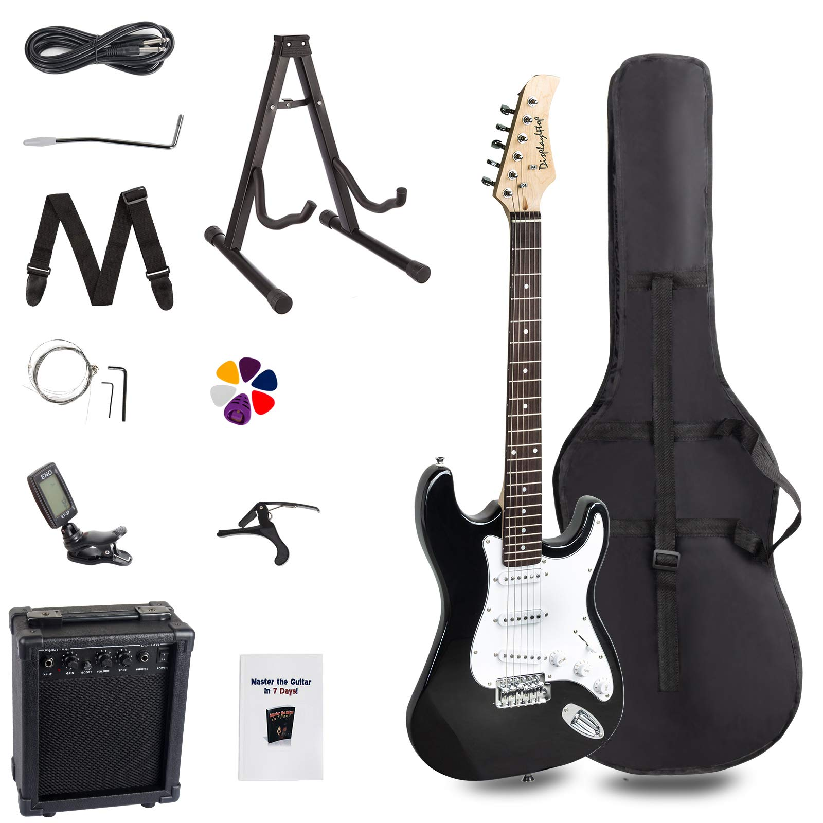 Display4top 39in Full-Size Electric Guitar Most complete Beginner Super Kit Package with 10-Watt Amp,Guitar Stand, Bag, Guitar Pick, Strap,spare Strings, Tuner, Case and Cable (Black/white) by Display4top