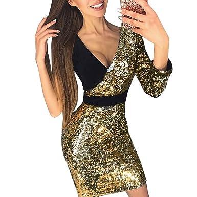 ff34cc0ee0d9 Robe éLéGante Hiver ELECTRI 2019 Sexy Robe Hanche Moulante Sexy pour Femme  Tendance Mini Sequins Profonds