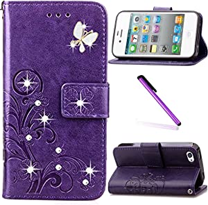 iPhone 5C Case,LEECOCO 3D Bling Crystal Diamonds Lucky Clover Floral with Card Slots Flip Stand PU Leather Wallet Case for iPhone 5C with 1 x Stylus Pen Diamond Clover Purple