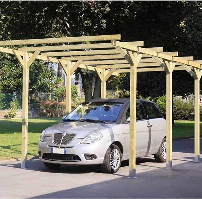Lupo - Cobertizo de madera para coche de300 x 500 cm: Amazon.es ...