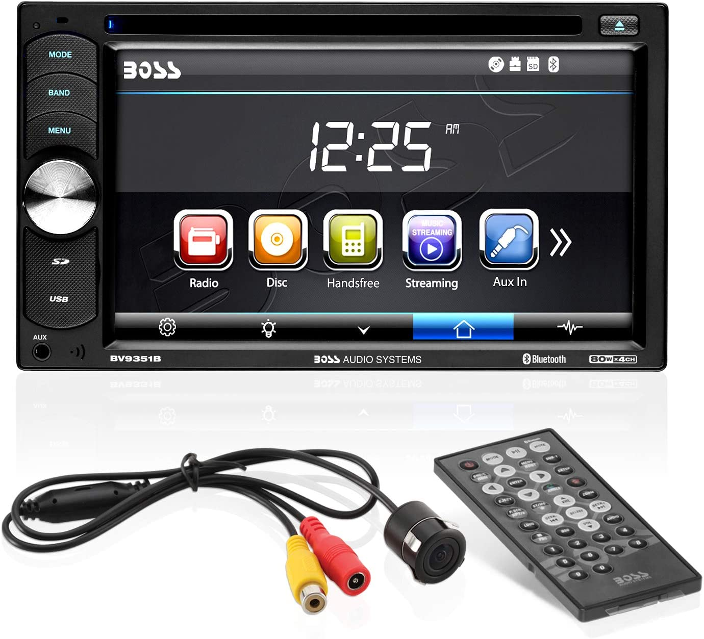 BOSS Audio Systems 628BCK Car Receiver and Speaker Package Aux-in Single-Din AM//FM No CD Player Bluetooth Audio and Hands-Free Calling Two 6.5 Inch Speakers USB