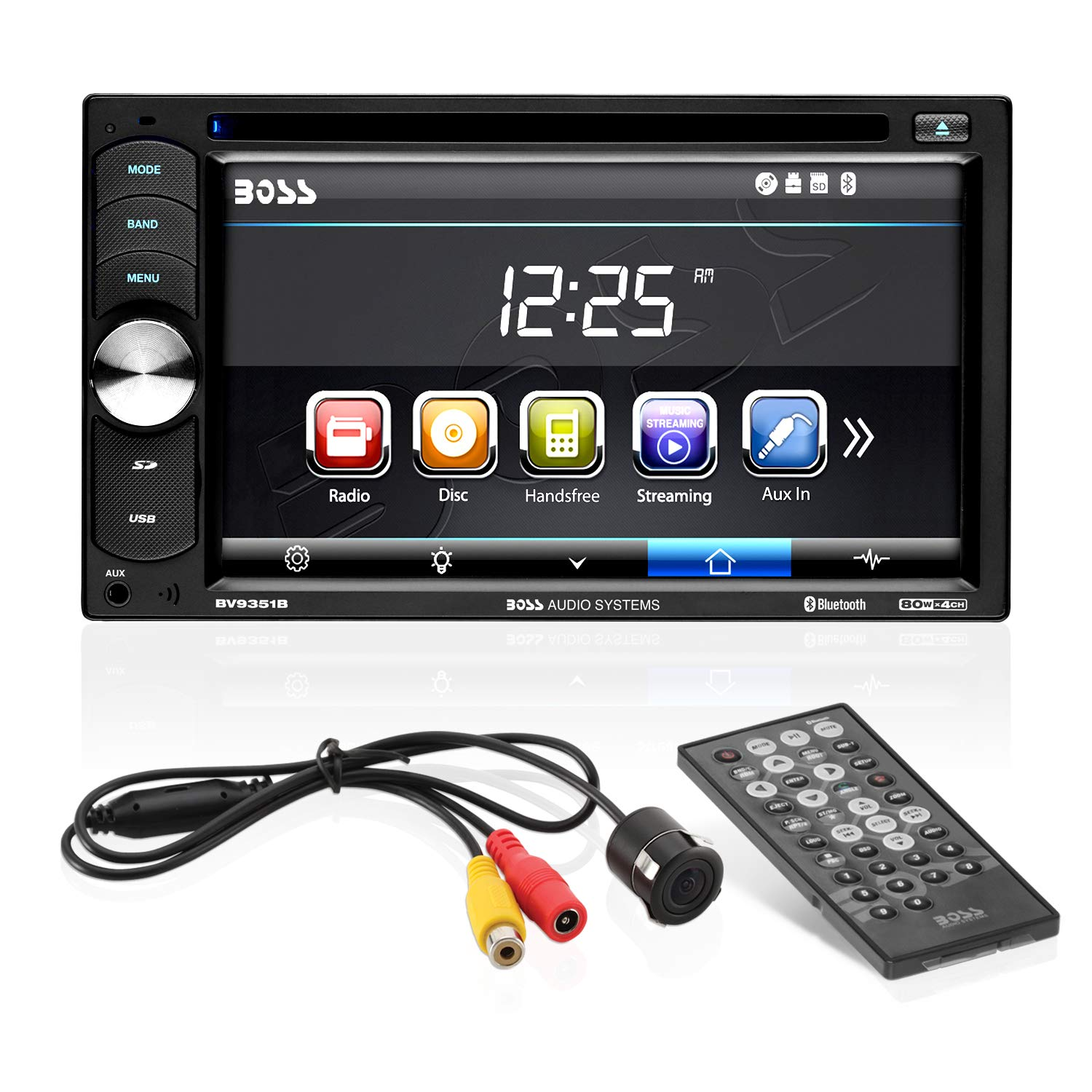 Boss Audio Systems BVB9351RC Car DVD Player with Backup Rearview Camera - Double Din, Bluetooth Audio Calling, 6.2 Inch LCD Touchscreen Monitor, MP3 CD DVD USB SD, Aux-in, AM FM Radio Receiver by BOSS Audio Systems