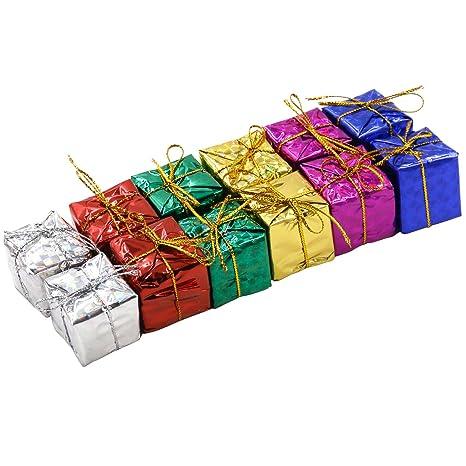 TRIXES Set de 12 Glamorosas Cajas de Navidad Decoración para Colgar del Árbol Colores Surtidos