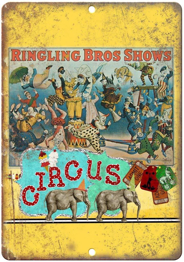 Laurbri Ringling Bros Shows Circus Plaque en Fer Blanc Affiche en m/étal Panneau davertissement Tableau de Fer Chambre /École Mur Aluminium Art D/écor Bar Caf/é