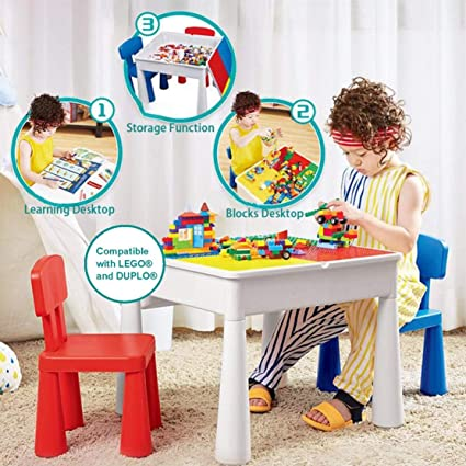 88ff56fdda88 KUBLO KIDS 5-in-1 Multi-Purpose Activity Build   Play Table and 2 Chair  Set  Amazon.co.uk  Kitchen   Home