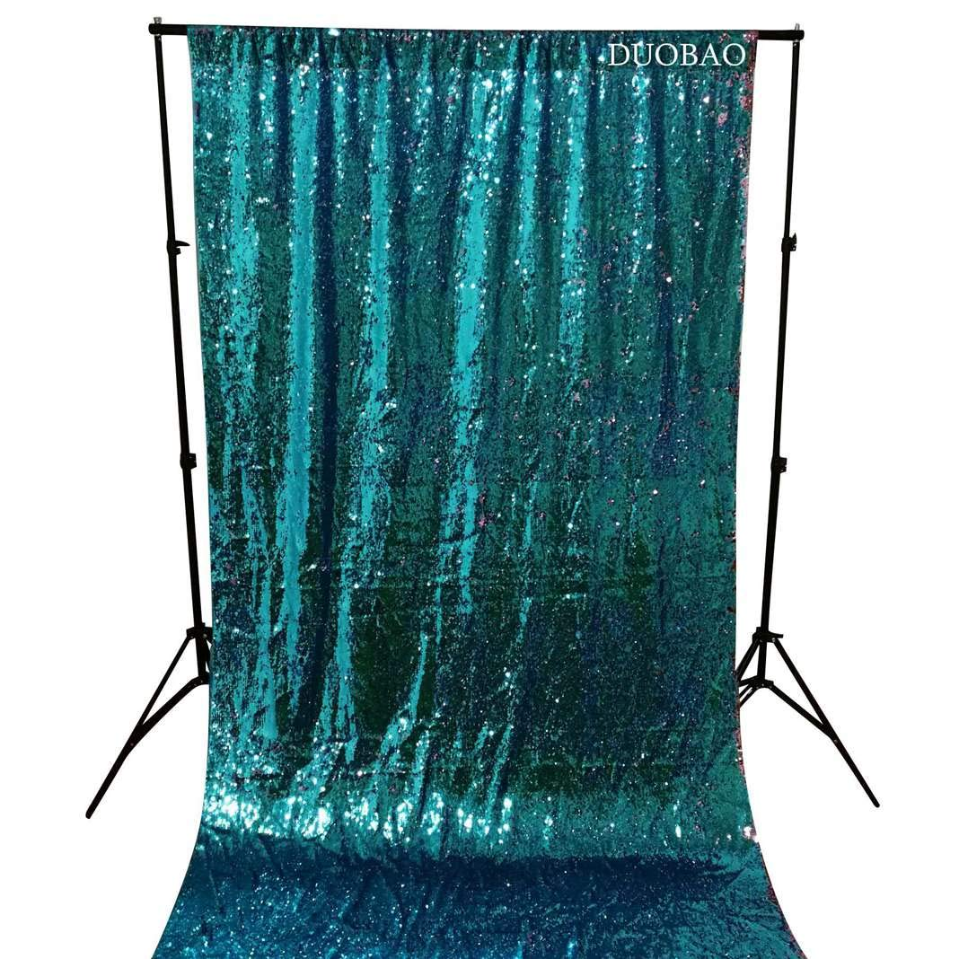 DUOBAO Sequin Backdrop 20FTx10FT Turquoise to Pink Glitter Backdrop Curtain Mermaid Reversible Sequin Curtains Beautiful Background by DUOBAO (Image #4)