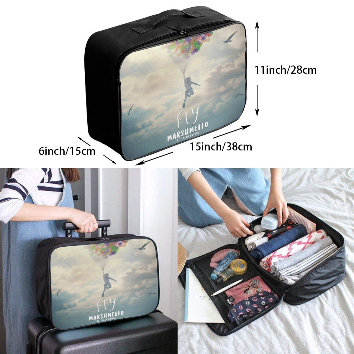 M/_arshm/_ello Large Capacity Portable Luggage Bag Travel Lightweight Waterproof Storage Carry Luggage Duffel Tote Bag