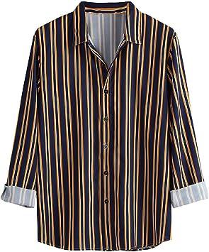 Camisa de Manga Larga con Estampado a Rayas Casual de otoño para Hombre Routinfly Camisa de Hombre Camisa Slim con Botones Blusa cómoda y cómoda, Hombre, Turquesa, L3: Amazon.es: Deportes y aire