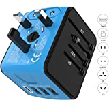 Jollyfit Universal Travel Adapter with Type C and 3 USB Ports Charger AC Socket Power Adapter Wall Plug for US UK AU EU Worldwide 150 Countries with Safety Fuse Cell Phone Laptop (Blue Type-C and 3 USB)