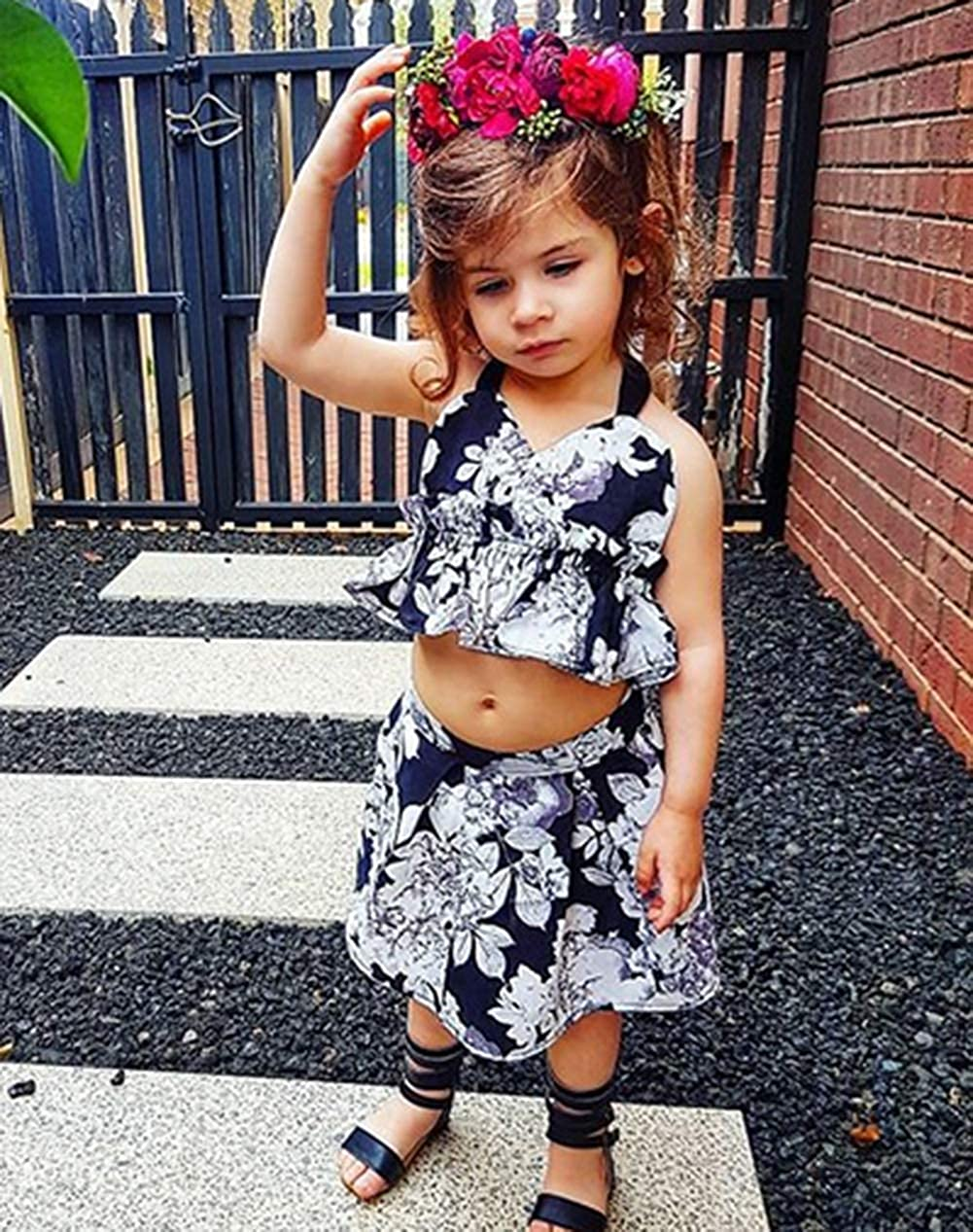 Baby Girls 3-Pieces Summer Clothes Little Girl Strap T-Shirt Tops Floral Shorts Bottom Underpants Cute Skirt