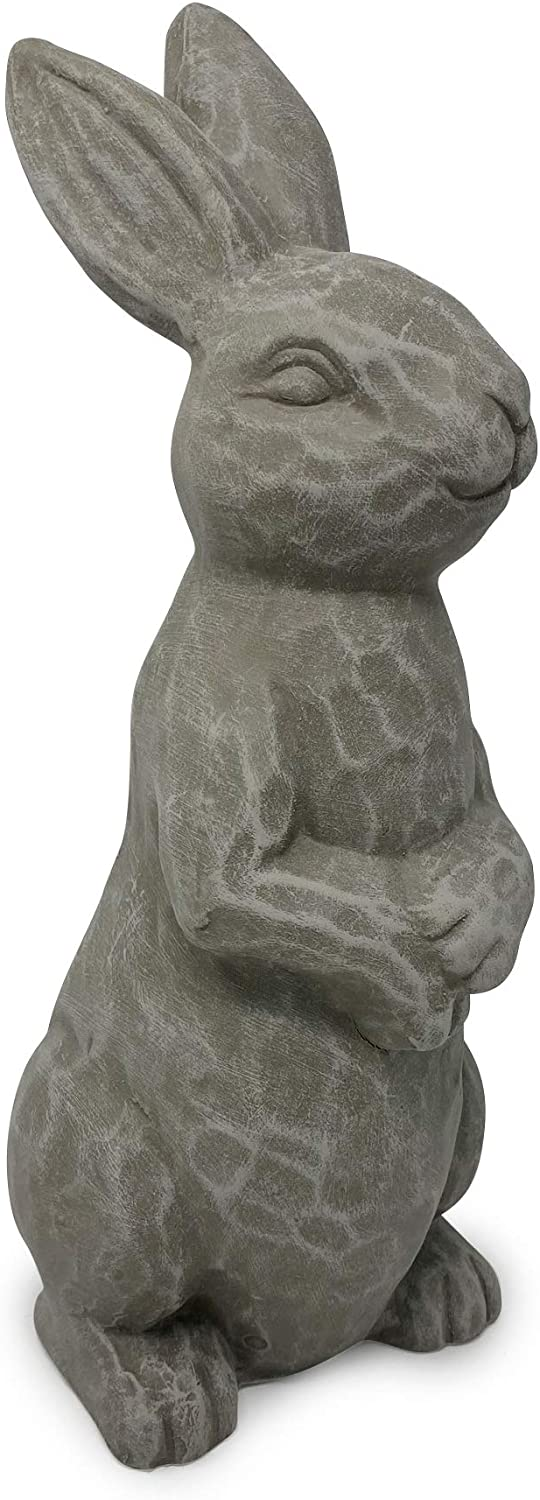 Elly Décor 14 Inch Tall Standing Sculpture for Your Patio & Yard, Outdoor Lawn décor, Cute Ceramic Figurine Garden Rabbit Bunny Statue, Gray Cement