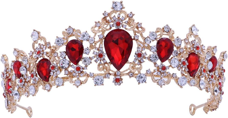 Frcolor Tiara Crown para mujer, coronas de diamantes de imitación boda Tiaras coronas de vincha (roja)