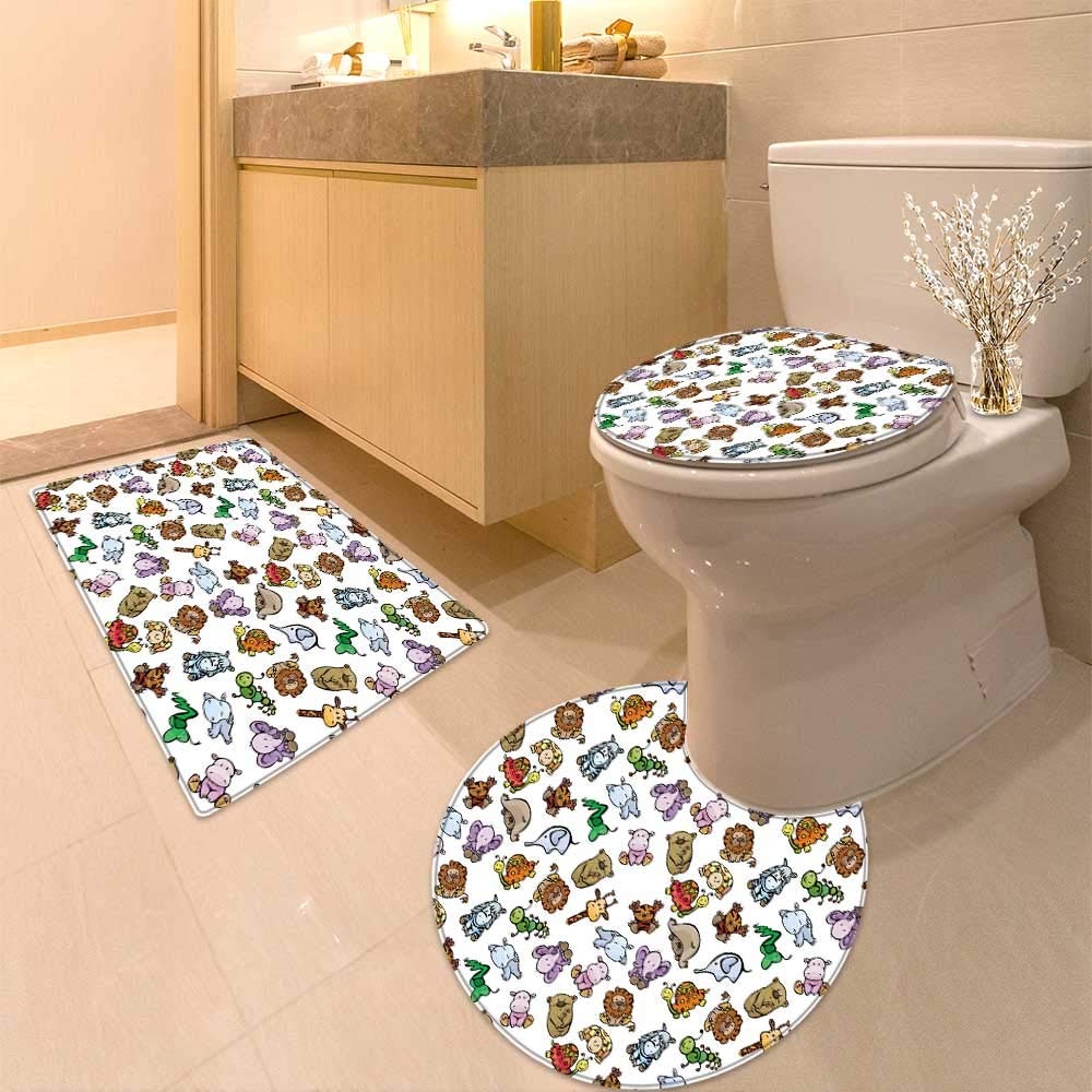 HuaWuhome 3 Piece Extended Bath mat Set Seamless of Cute Baby Animals Increase