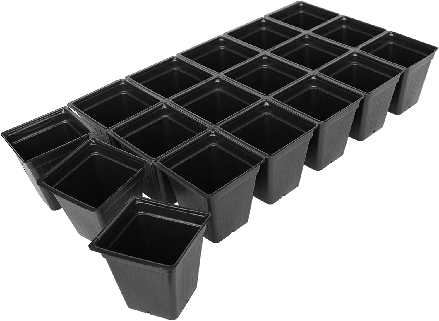 Handy Pantry Black Plastic Garden Tray Inserts - 20 Sheets of 18 Planting Pot Cells Each - 3x6 Configuration - Perforated - Nursery, Greenhouse, Gardening