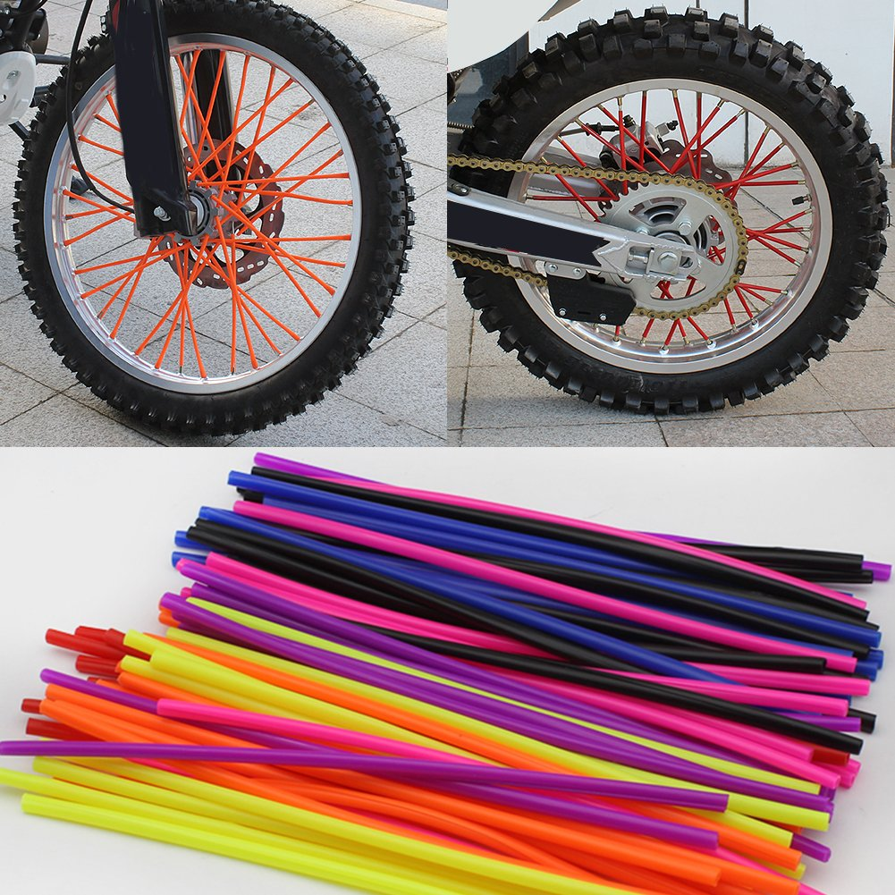 36pcs Motorcycle Wheel Spoked Wraps Skins Covers Motocross Dirtbike Dirt Bike Cool Accessories Rims Skins Covers Guard Protector White