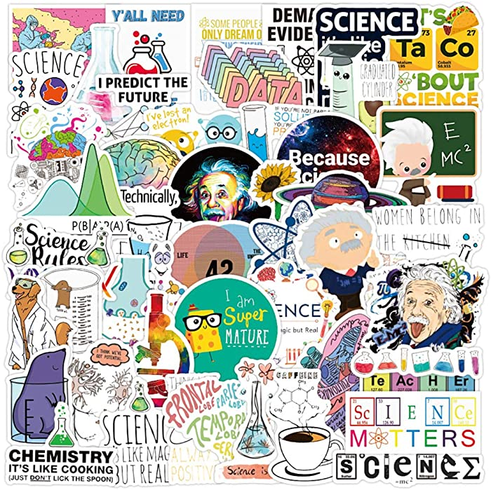 50 Pcs Student Science Experiments Stickers| Physics Chemistry Biology Laboratory Experiments Waterproof Vinyl Stickers for Water Bottles Laptop Luggage Cup Computer Mobile Phone Skateboard Decals