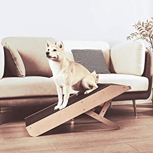 MDBT Small Dog Ramp for Sofa Couch, Solid Hardwood Beech Pet Ramp with Platform Top and Paw Traction Anti-Slip Surface, 35 in. Long Adjustable Height 21 in. Supports Medium Dogs Up to 100 lbs