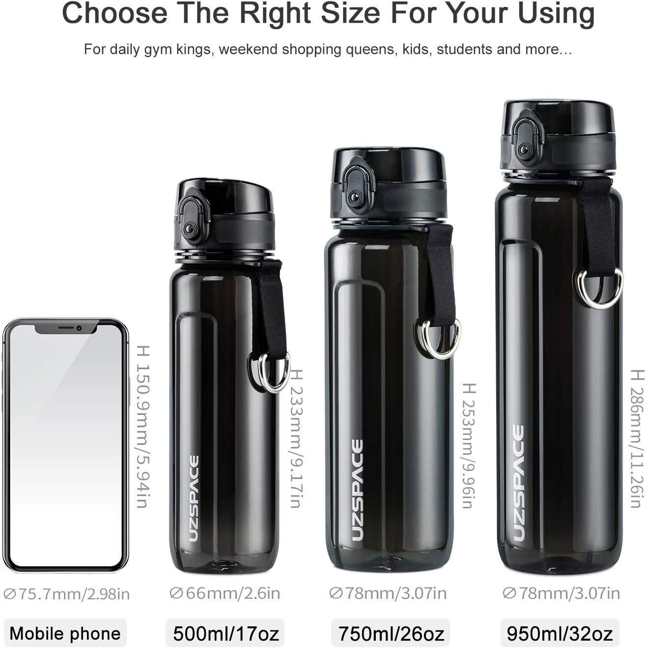 Gym Yoga, Details about  /Sports Water Bottle Eco Friendly /& BPA-Free Plastic for Running