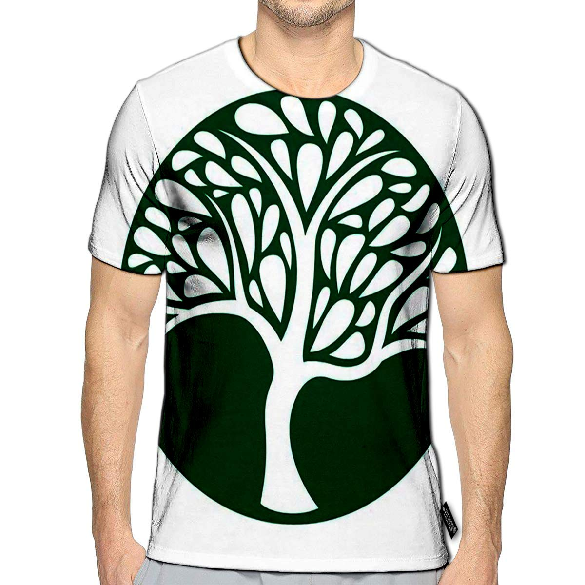 3D Printed T-Shirts Ornament Tree Icon On Green Short Sleeve Tops Tees