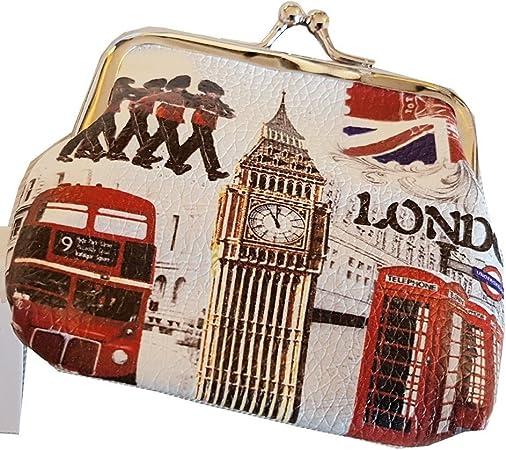 Monedero Vintage Souvenir de Londres/Altamente Coleccionable! / Recuerdo británico Desde Inglaterra Reino Unido/Big Ben/Autobús de Dos Pisos/Teléfono Rojo/Union Jack/Guardia Real: Amazon.es: Equipaje