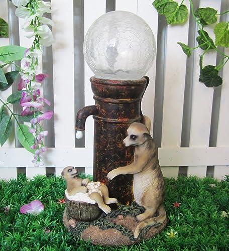 Meerkat With Colour Changing Solar Lamp Post Garden
