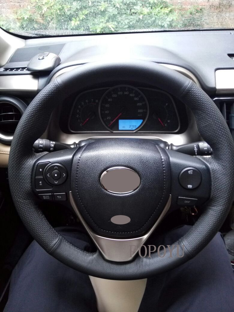 Amazon.com: Eiseng Customized DIY Genuine Black Leather Steering Wheel Cover with Needles for 2014-2018 Corolla 15 inches/for 2013 2014 2015 2016 2017 2018 ...