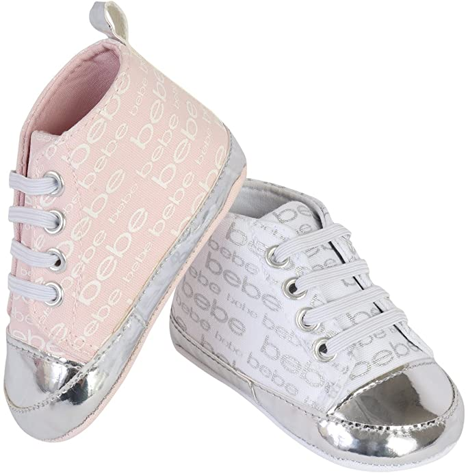 bebe Baby Girls Lace-up Crib Shoe Sneakers with Metallic Print 2 Pack