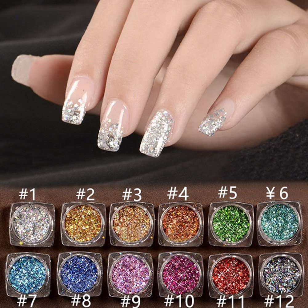 SaiDeng 12 Colors Set 2g Holographic Laser Powder Nail Art Glitter Rainbow  Pigme - SaiDeng 12 Colors Set 2g Holographic Laser Powder Nail Art Glitter